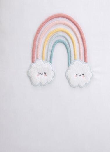 Chakra Rainbow Süs Yastık Kılıfı Beyaz-Pembe - 40X40 Beyaz